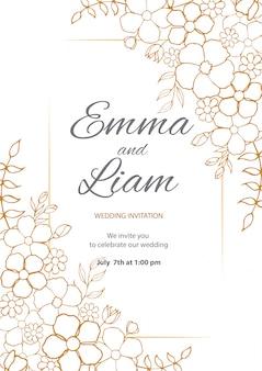 花のフレームと美しい結婚式の招待カード