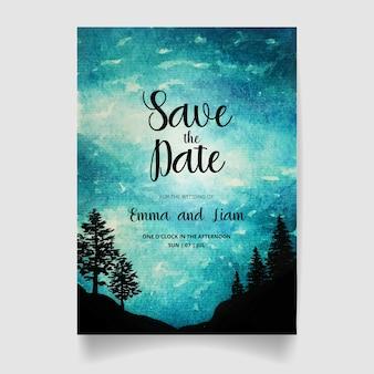 日付、水彩の森と空の結婚式の招待状を保存します。