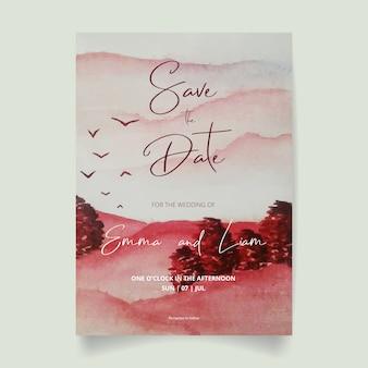 結婚式招待状、森林と空の日付水彩風景を保存します。