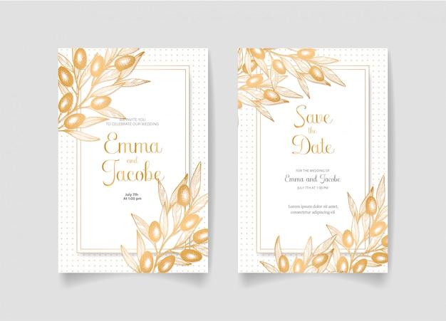 Сохраните дату, свадебные приглашения с золотыми оливками, листьями и ветвями.