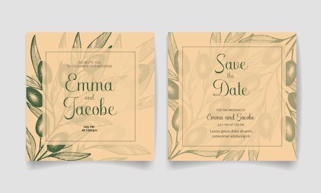 Сохраните дату, свадебные приглашения с оливками, листьями и ветвями.
