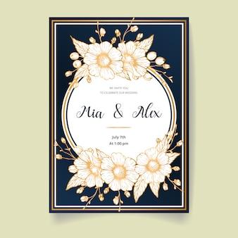 Красивая свадьба пригласительная открытка с золотыми цветами, листьями и ветвями. счастливое свадебное приглашение. идеально подходит для свадебной церемонии и счастливого брака!