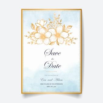 Красивая свадьба пригласительная открытка с золотыми цветами, листьями, акварель фон и филиалов. счастливое свадебное приглашение. идеально подходит для свадебной церемонии и счастливого брака!