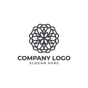 抽象的な花のロゴのテンプレートベクトル
