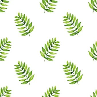 Вектор бесшовные узор листьев в стиле акварели