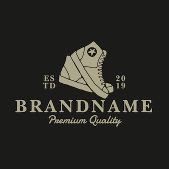 Обувь винтажный логотип дизайн шаблона