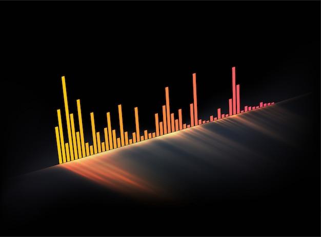 Светящаяся музыкальная дорожка звуковая волна. современный стиль мюзикла.