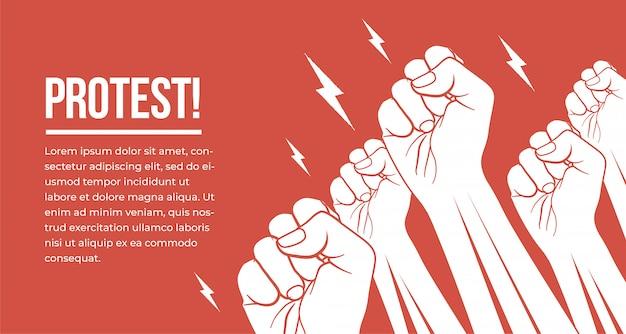 白のグループは抗議する人々の拳の腕を育てた。抗議、デモ、会議のコンセプト