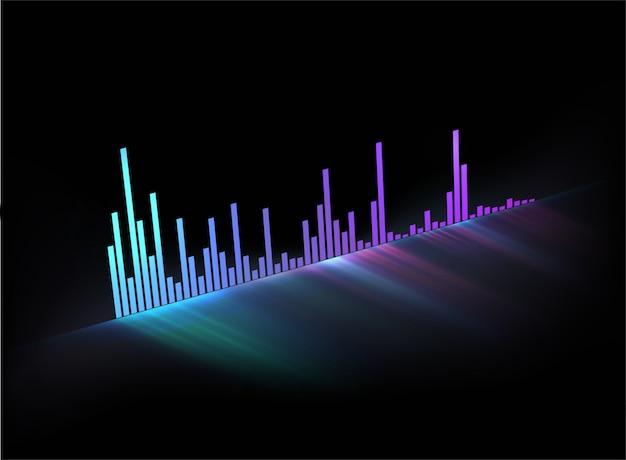 ネオン輝く音楽トラックの音波。ビデオカバーやポスター、または音楽をテーマにした使用法のモダンなスタイルの音楽テンプレート。