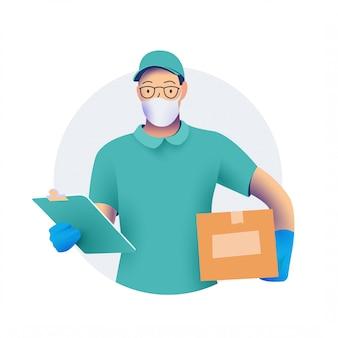 彼の手にボックスが付いている保護医療フェイスマスクの配達人または宅配便。と保護手袋。コロノウイルス概念の防止中の商品の配達。 。