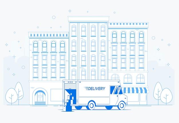通りの配達用トラック。ドアコンセプトバナーデザインテンプレートへの配信。