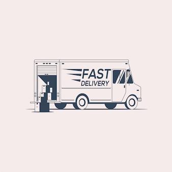 配送トラックのシルエットのロゴやアイコンのデザイン。