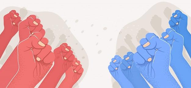 Группа поднятых красных рук против группы синих поднятых рук. оппозиция, противостояние, против концепции. левый против правого.