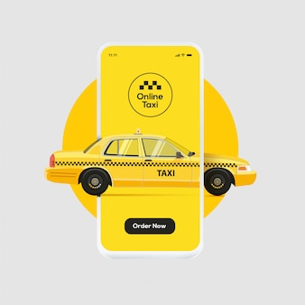 オンラインタクシー注文サービスのバナーデザイン。スマートフォンの画面表示を介して運転する黄色いタクシー。