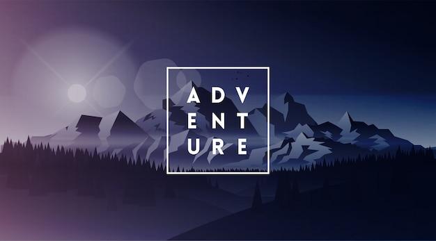 Приключение. минималистичный белый типографский логотип в тонкой рамке на фоне темных гор пейзаж. горы баннер дизайн. иллюстрация