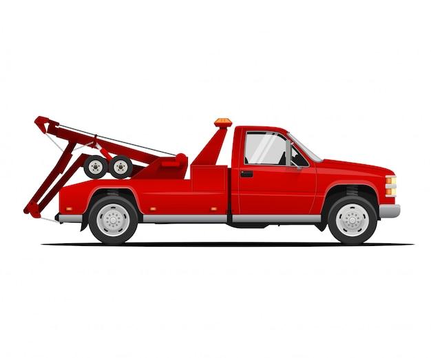レッカー車。レッカー車のイラスト。牽引サービスのコンセプト
