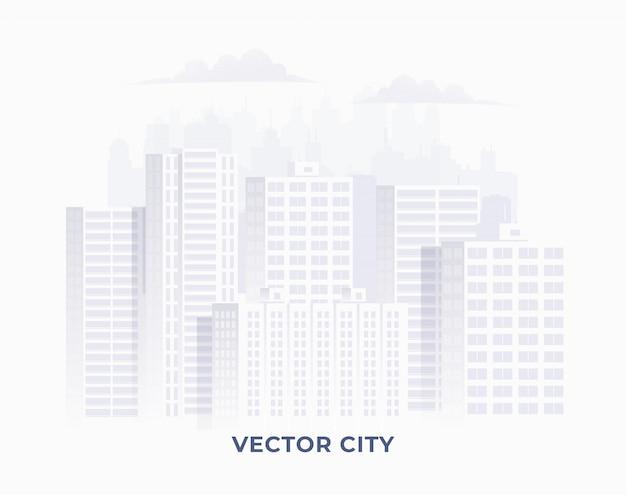 白い背景の上のきれいな明るい白い色の街のシルエット。バナーやインフォグラフィックのダウンタウンの街並みのイラスト。図。