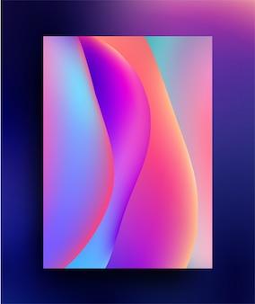 Голографическая жидкость красочный градиент формы абстрактный плакат