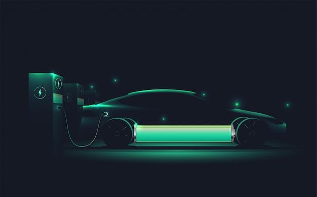 充電ステーションで充電する電気自動車。