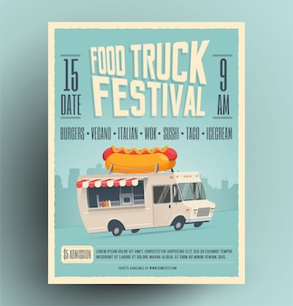 Фестиваль еды грузовик плакат, флаер, шаблон уличной еды