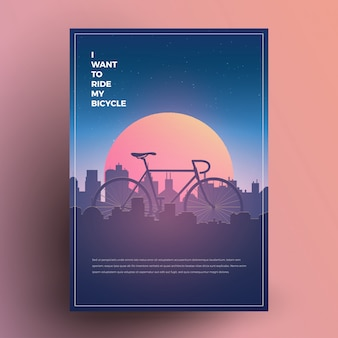 ミニマリストのモダンなスタイルの自転車ポスター