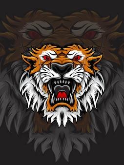 Оранжево-белая голова тигра