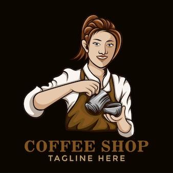 Бариста кофе девушка логотип