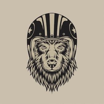 Винтажный волк в шлеме
