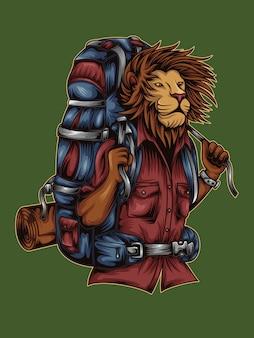 青いバックパックを運ぶライオン