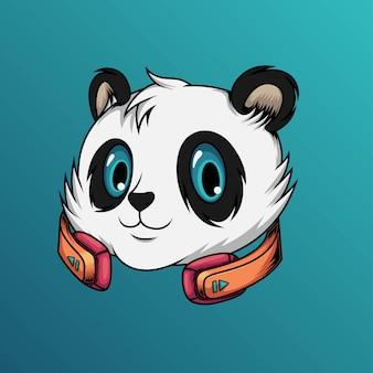 パンダは音楽を聴く