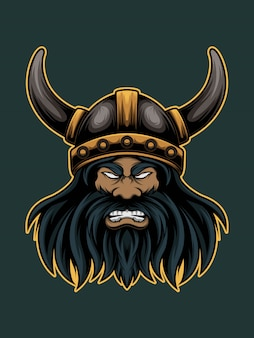 Сердитая иллюстрация талисмана викинга