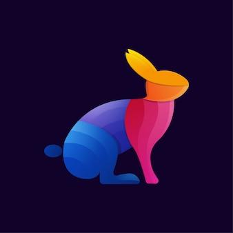 カラフルなウサギのグラデーションアートワークのロゴのテンプレート