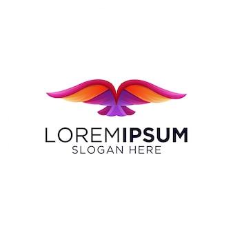 Высокий красочный шаблон градиента птица логотип