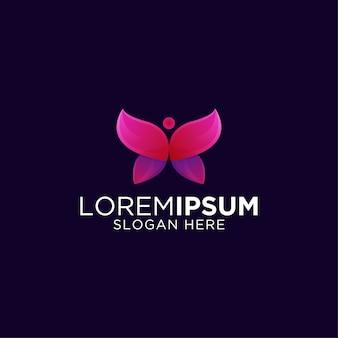 Красочный фитнес-бабочка премиум дизайн логотипа