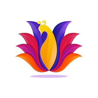 カラフルな孔雀のグラデーションアートワークのロゴのテンプレート