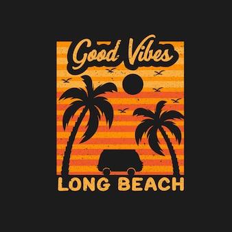 Хорошие флюиды, длинная пляжная иллюстрация