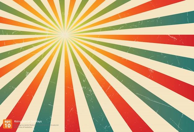 ヴィンテージカラフルなライジングサンまたはサンレイ、太陽バーストレトロな背景のデザイン
