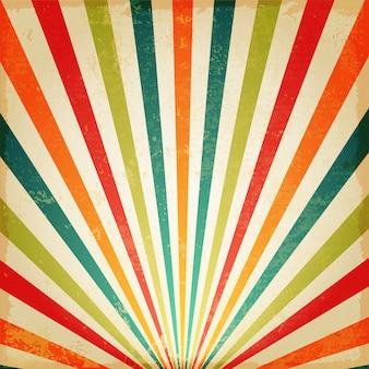 ヴィンテージ多色ライジングサンまたはサンレイ、太陽バーストレトロ背景デザイン