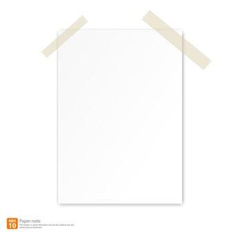 Новая белая бумага с лентой для векторного формата примечаний