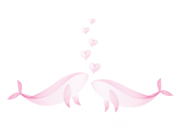 白い背景のピンク色のラインパターンによってカップルクジラの心の流れるキスを作成します。愛の概念。