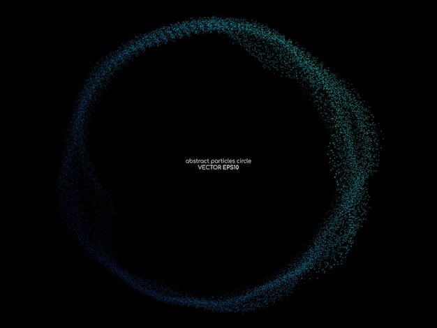 Плавные частицы круг кадр в синий и зеленый на черном фоне.