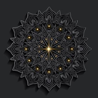暗いダマスクアラベスク背景オリエンタルスタイルの高級マンダラアート