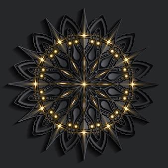 Роскошное искусство мандалы с темным фоном в стиле арабск