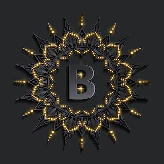 黄金効果文字でモノグラム暗いダマスクロゴ