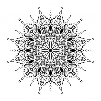白い背景の上の丸いマンダラ
