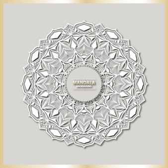 白いアラベスク背景を持つ高級マンダラアート