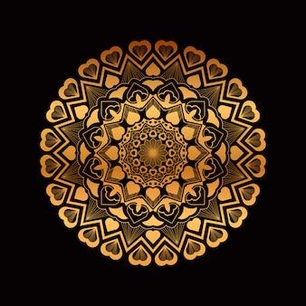 Золотая рисованная мандала с сердечками