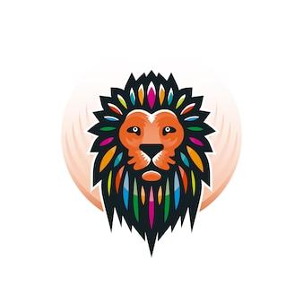 カラフルなライオンヘッドのロゴ