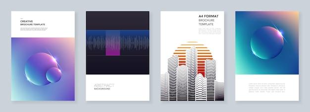Минимальные шаблоны брошюр с красочными абстрактными градиентными пятнами и геометрическими фонами