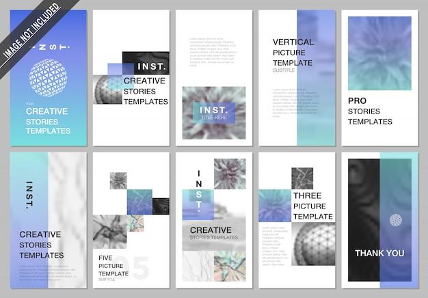 Дизайн историй креативных социальных сетей, шаблоны вертикальных баннеров или флаеров